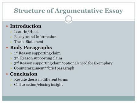 Structure of argumentative essay